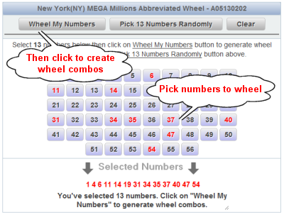 New York Cash4Life Lotto Wheels Number Selection Sample