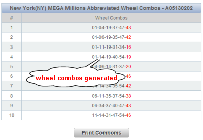 New York Powerball Lotto Wheels Sample Results